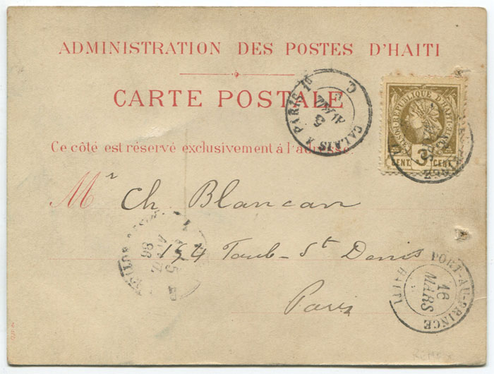 1886 (16 Mar) Haiti postal stationery formular card used to Paris