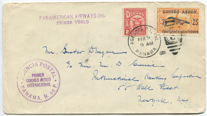 1929 AGENCIA POSTAL PANAMA R. DE P. PRIMER CORREO AEREO INTENACIONAL h/s on first flight cover Panama - New York.