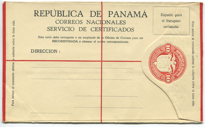 1929 Panama postal stationery 10c registered envelope