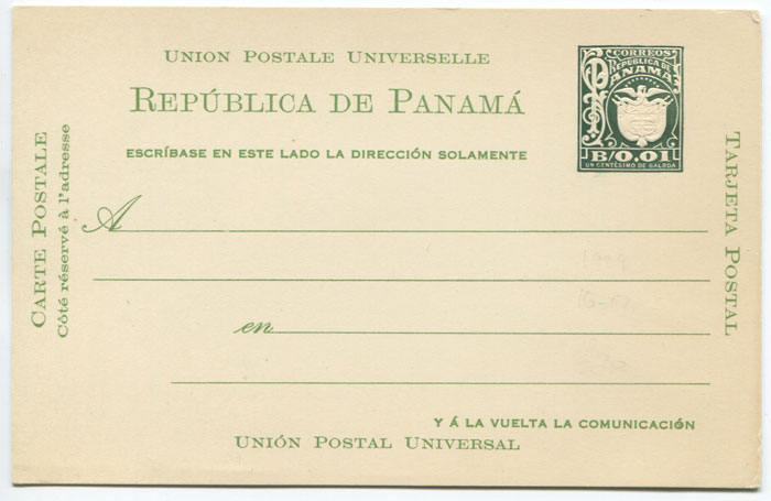 1929 Panama postal stationery B0.01 dark grey green postal card