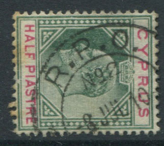 1904-10 Cyrpus ½pi with R.P.O. No 2 8 JUL 10 cds railway cancel