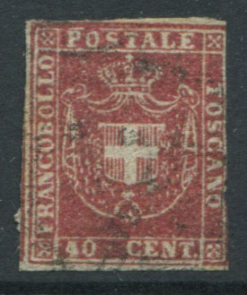 1860 Tuscany Arms of Savoy 40c rose (SG49)