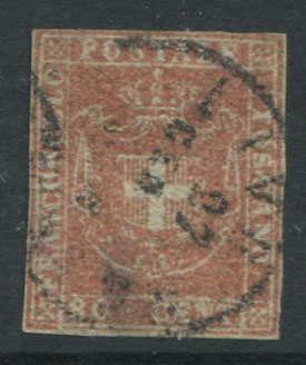 1860 Tuscany Arms of Savoy 80c pale red-brown (SG50)