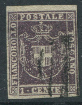 1860 Tuscany Arms of Savoy 1c deep purple (SG36),