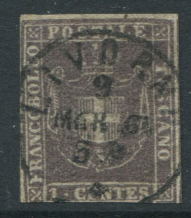 1860 Tuscany Arms of Savoy 1c plum (SG37),