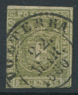 1860 Tuscany Arms of Savoy 5c olive green (SG39),