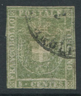 1860 Tuscany Arms of Savoy 5c pale green (SG41),