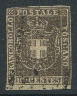 1860 Tuscany Arms of Savoy 10c deep brown (SG42)