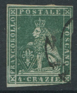1851-2 Tuscany Crowns wmk., 4c deep green/grey (SG14)