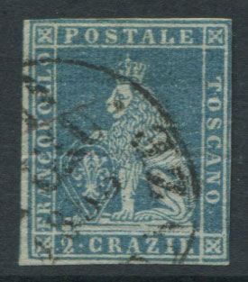 1851-2 Tuscany Crowns wmk., 2c blue/grey (SG11)