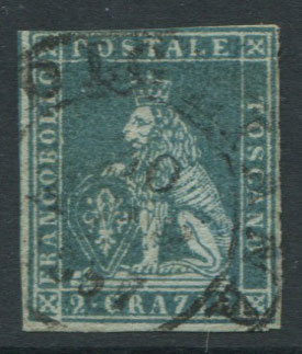 1851-2 Tuscany Crowns wmk., 2c dull blue/grey (SG12)