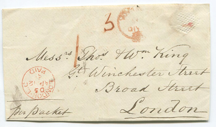 1861 Crown PAID AT GRENADA red h/s on cover front to London.