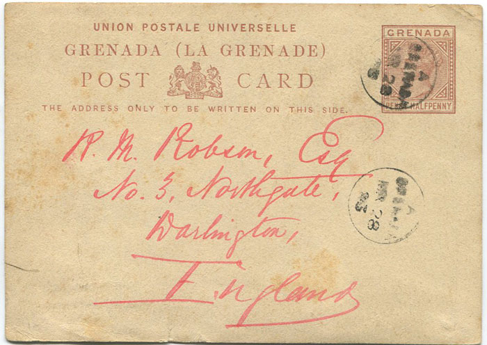 1881 Grenada 1½d postal stationery postal card used to England