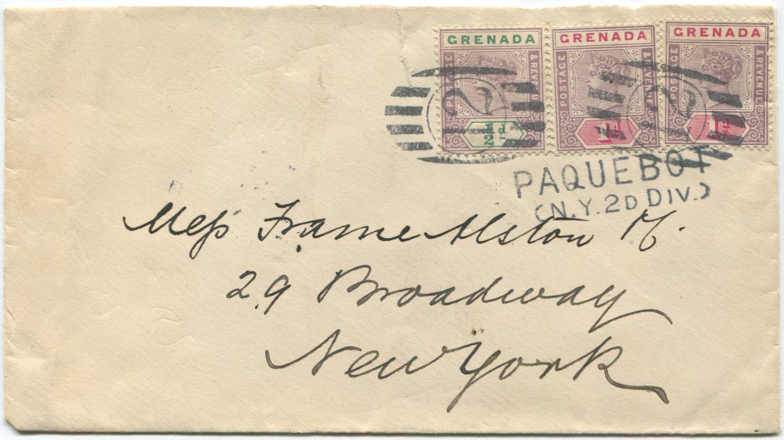 1900 Grenada 1895-9 ½d and pair of 1d
