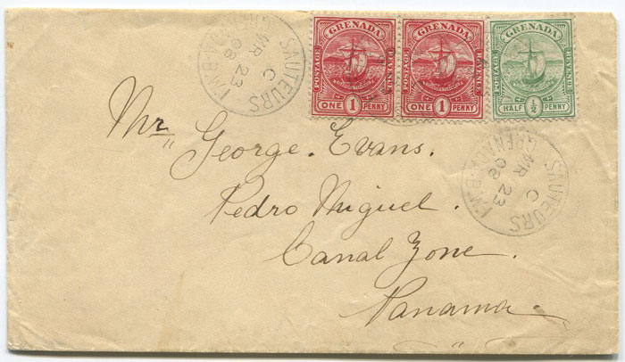 1908 SAUTEURS GRENADA cds on cover to Panama with 2½d franking.