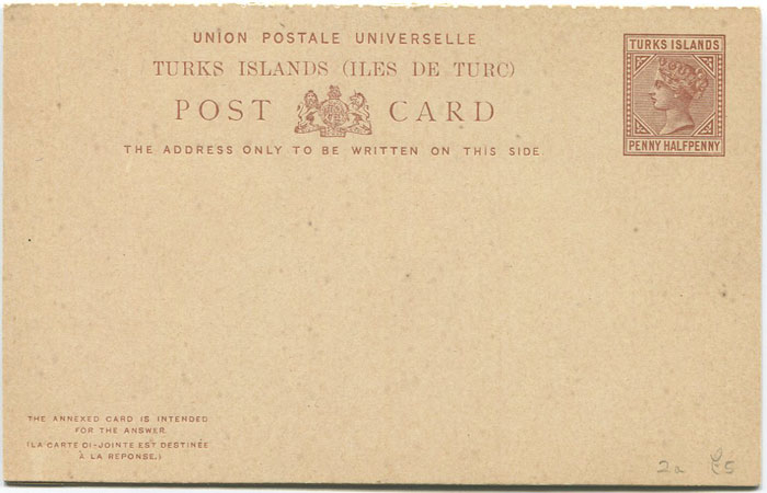 1881-5 Turks & Caicos Is. postal stationery 1½d reply card