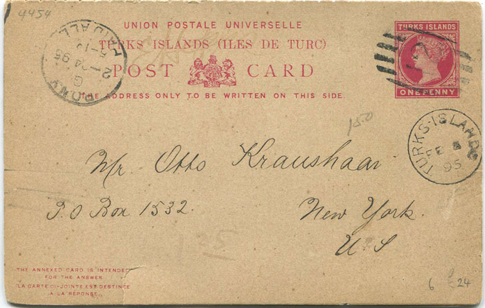 1893 Turks Islands postal stationery 1d reply card, used to U.S.A.