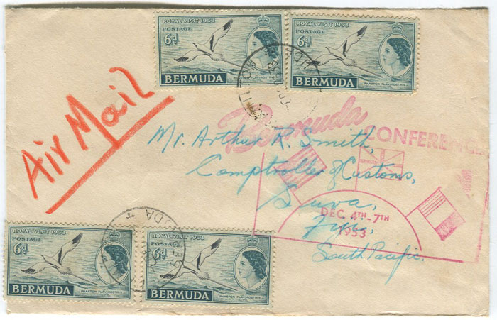 1953 Bermuda Conference advertising slogan cachet on airmail cover to Fiji.