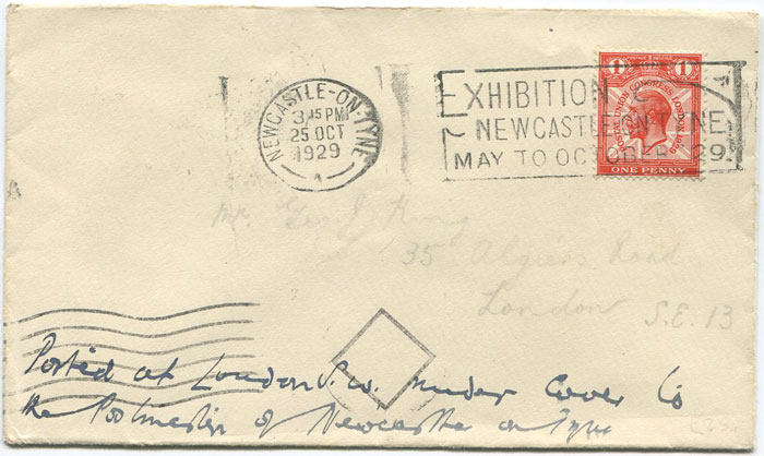 1929 EXHIBITION NEWCASTLE ON TYNE MAY TO OCTOBER 1929 slogan machine cancel