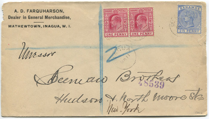 1903 registered printed cover from Inagua, Bahamas to New York