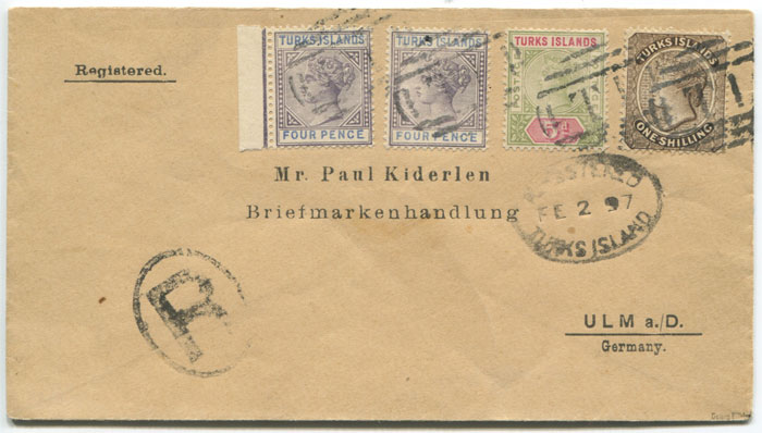 1897 Turks Islands registered cover to Germany with 2/1d franking.