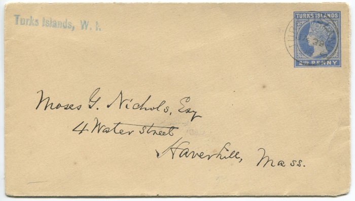 1895 Turks Islands postal stationery 2½d envelope (H/G1a) used to U.S.A. in 1908