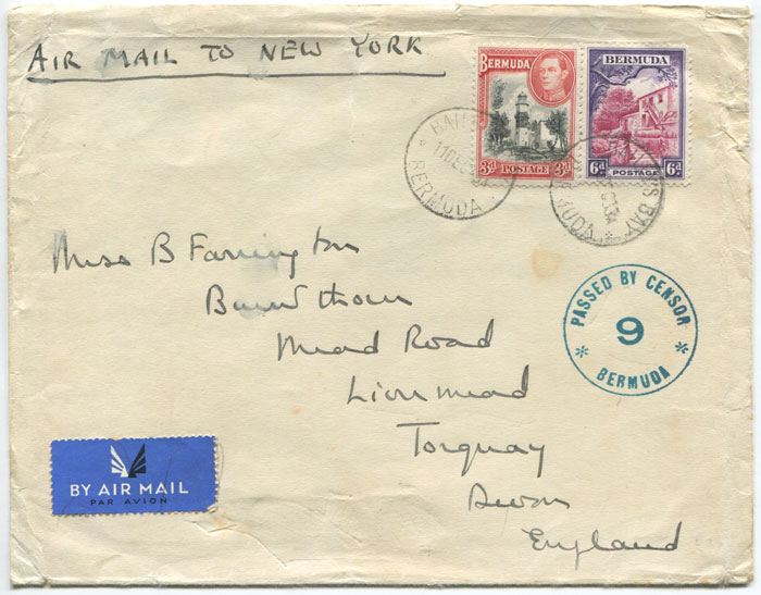 1939 (11 Dec) PASSED BY CENSOR 9 BERMUDA circular h/s (CM21) on airmail cover to New York.