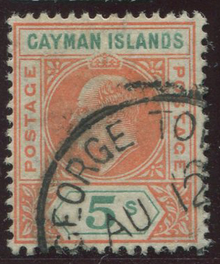 1907 Cayman Is. 5/- with dented frame variety (SG16a) f.u.