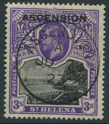 1922 Ascension 3/- (SG8), v.f.u.