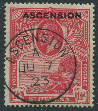 1922 Ascension 1½d (SG3), v.f.u.