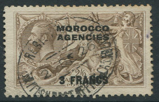 1924-32 Morocco Agencies French Currency 3f on 2/6d reddish brown (SG200c)