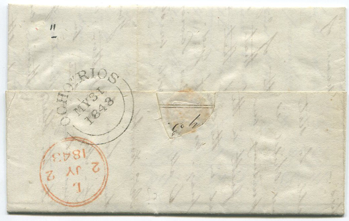 1848 (31 May) OCHO RIOS (P3) date stamp of Jamaica on EL to London.