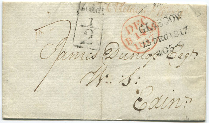 1817 (13 Dec) GLASGOW boxed ADD ½ mark on cover to Edinburgh.