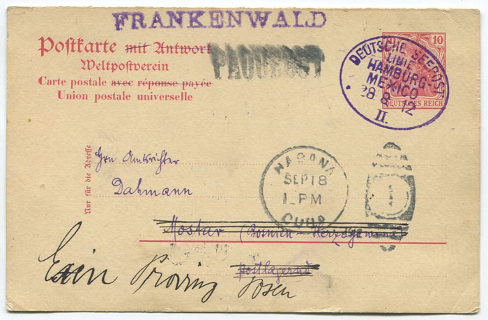 1912 DEUTSCHE SEEPOST LINIE HAMBURG MEXICO cancel