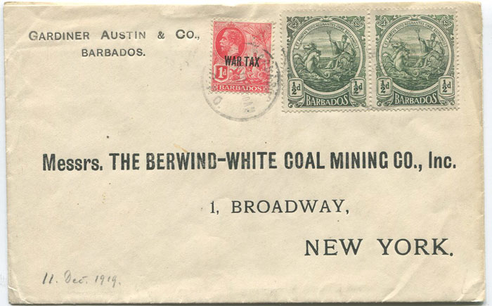 1919 Barbados War Tax 1d on cover to New York with pair of ½d