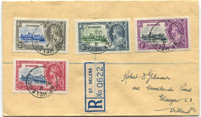 1935 St Helena Silver Jubilee set on registered cover.