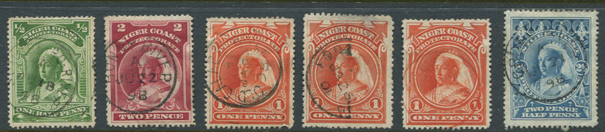 1894-8 Niger Coast Protectorate values to 1/- with postmark interest.