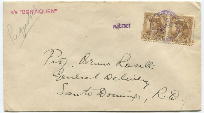 1933 small PAQUEBOT h/s applied at Santo Domingo, Haiti
