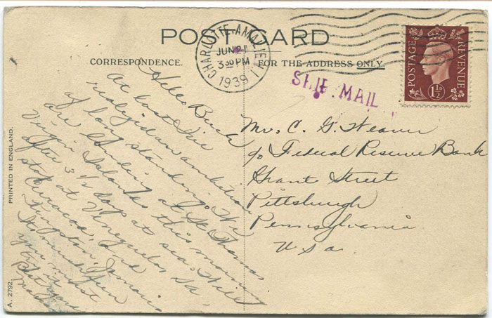 1939 SHIP MAIL h/s applied at Charlotte Amalie V.I.