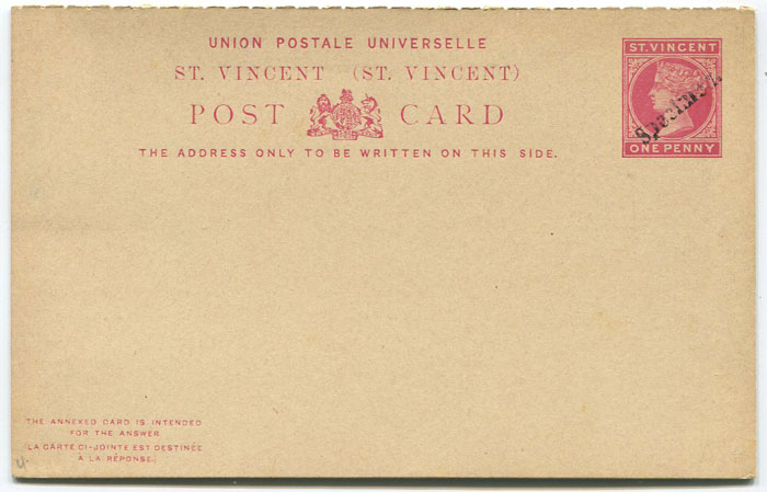 1884-93 St Vincent 1d + 1d postal stationery reply card