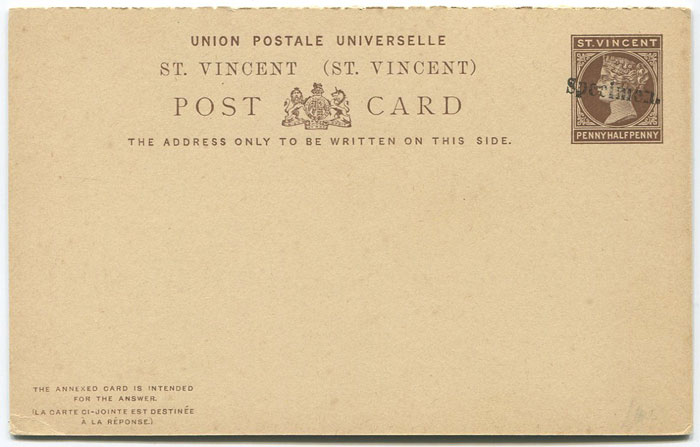 1884-93 St Vincent 1½d + 1½d postal stationery reply card