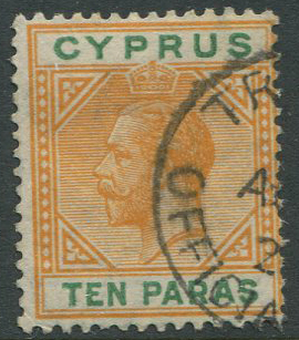 1912-5 Cyprus TROODOS OFFICIAL PAID village cds cancel on  10pa (SG74)