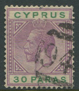 1921-3 Cyprus 942 obliterator on 30pa (SG87)