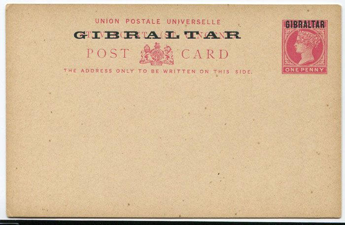 1886 Gibraltar 1d postal stationery card (H/G2)
