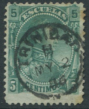 1882 Venezuela 5c Escuelas revenue stamp with TRINIDAD MY 2 06 cds.