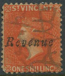 1882-3 St Vincent Revenue 1/- with pen cancel.