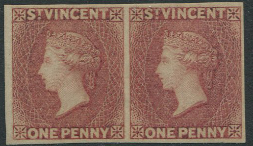 1861 St Vincent 1d rose red imperf pair (SG1b),