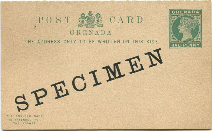 1886 Grenada ½d + ½d postal stationery reply card (H/G8)
