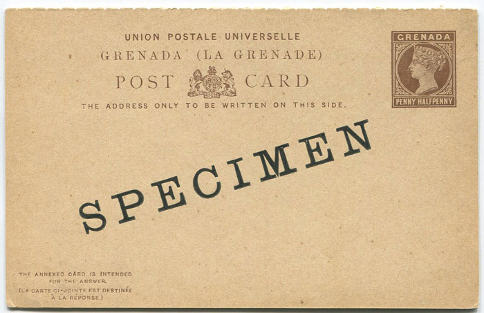 1886 Grenada 1½d + 1½d postal stationery reply card (H/G10)