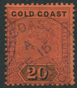 1889-94 Gold Coast 20s dull mauve and black/red (SG25),